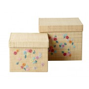 Square Raffia Box with Embroidered Flowers - Set of 2 (Natural)